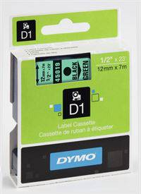 Dymo tape, 45019, 12mm x 7m Sort på grøn