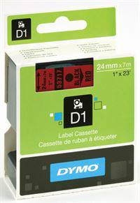 Dymo tape, 53717, 24mm x 7m Sort på rød