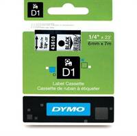 Dymo tape, 43610, 6mm x 7m Sort på transparent
