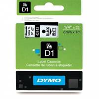 Dymo tape 43613 6mm x 7m Sort på hvid