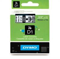 Dymo tape 45800, 19mm x 7m Sort på transparent