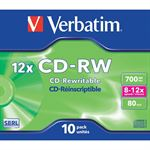 Verbatim 10 x CD-RW 700 MB 8x - 12x, CD boks
