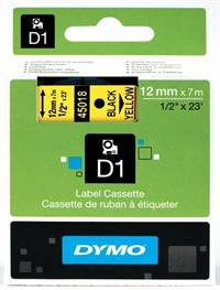 Dymo tape, 45018, 12mm x 7m Sort på gul