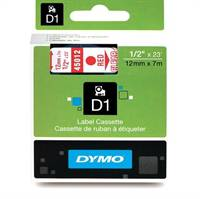 Dymo tape, 45012, 12mm x 7m Rød på transparent