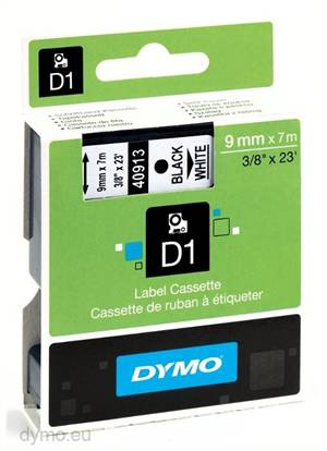 Dymo tape 40913 9mm x 7m Sort på hvid