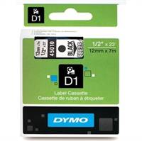 Dymo tape, 45010, 12mm x 7m Sort på transparent